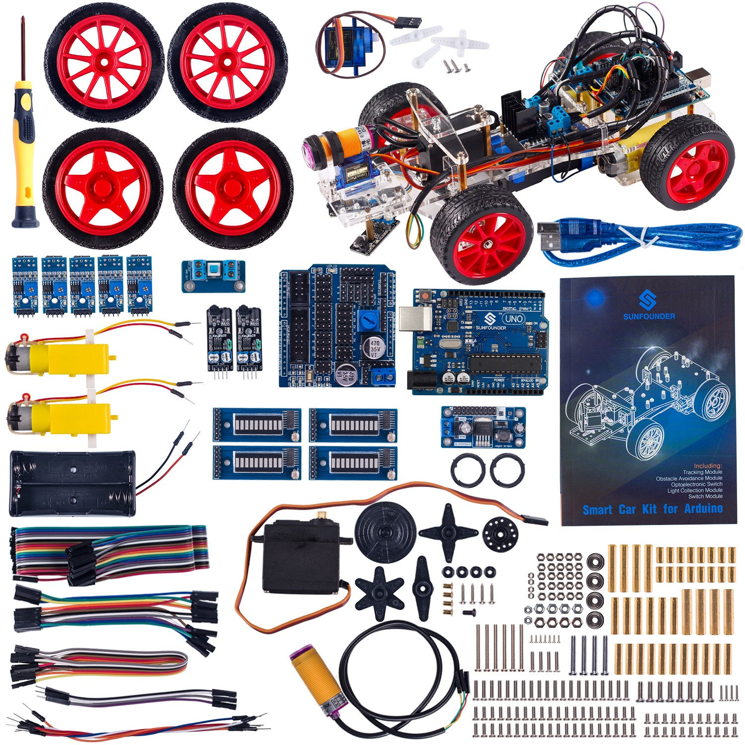 Smart Car Kit for Arduino with Uno R3, Obstacle Avoiding, Line Tracing and  Light Seeking